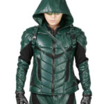 Arrow S5 Stephen Amell Leather Hooded Jacket