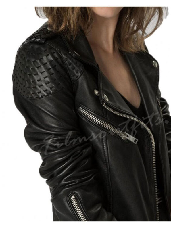 Arrow-Katie-Cassidy-Black-Motorcycle-Stitched-Leather-Jacket