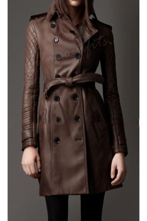 Castle Kate Beckett Brown Leather Trench Coat