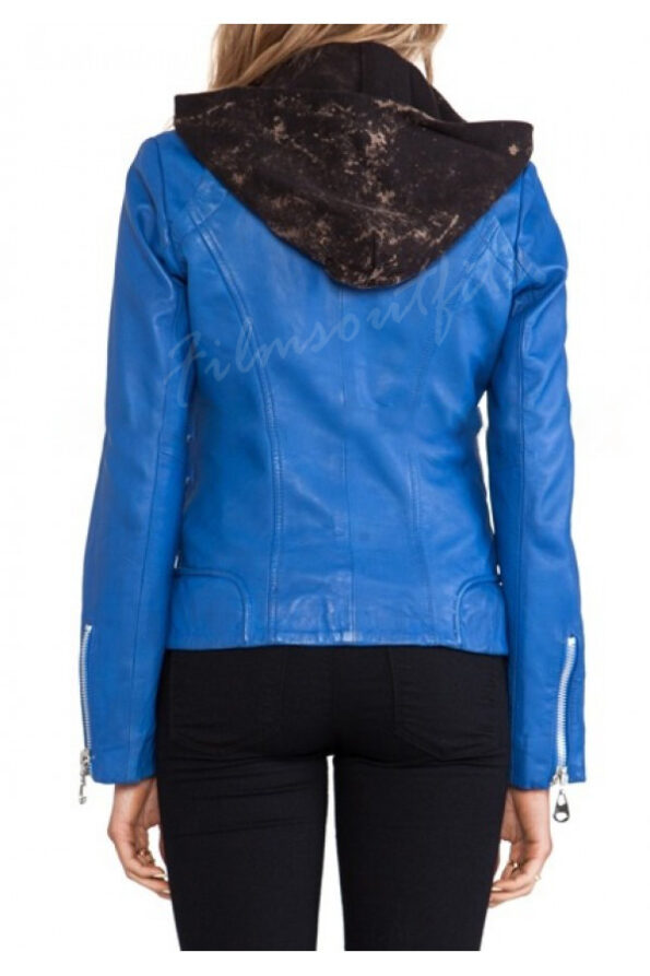 Clary Fray Blue Leather Jacket The Mortal Instruments-600x900w