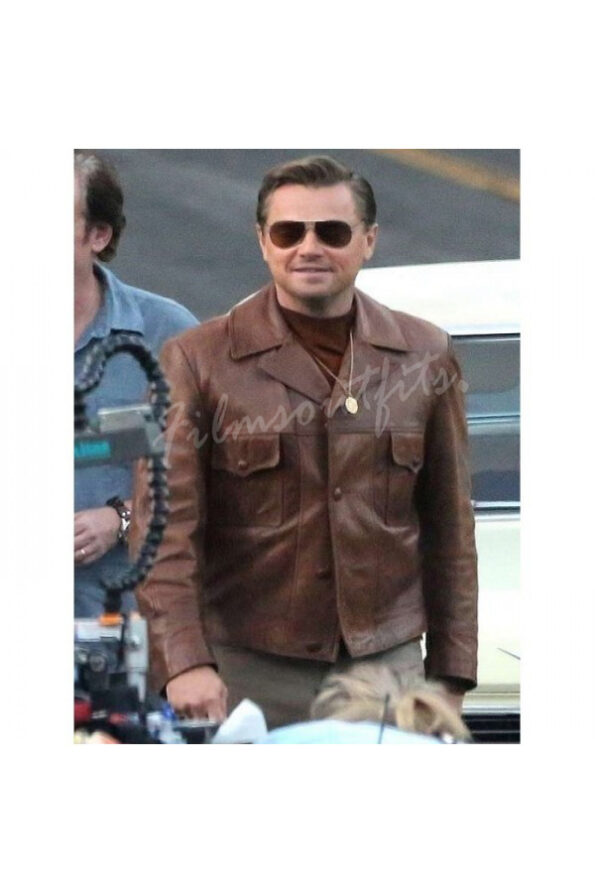 Leonardo DiCaprio Once Upon a Time in Hollywood Brown Leather Jacket