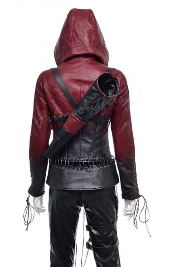 Thea Queen Arrow Red Hood Leather Jacket-600x900h