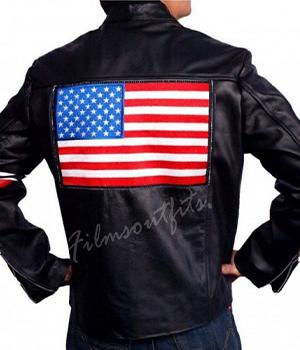 Easy Rider Captain America US Flag Motorcycle Leather Jacket