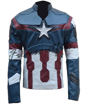Avengers Age of Ultron Captain America Leather Jacket Costume