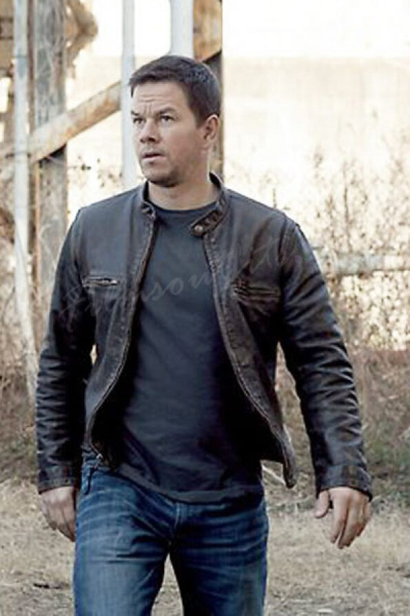 Distressed Brown Mark Wahlberg Contraband Leather Jacket