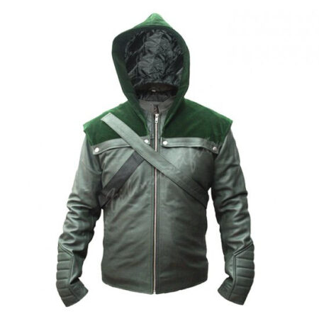 Arrow S8 Stephen Amell Green Hooded Leather Jacket