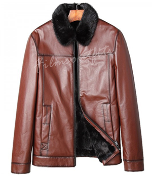 Shearling Genuine Cow Leather Fur Collar Leather JacketShearling Genuine Cow Leather Fur Collar Leather Jacket