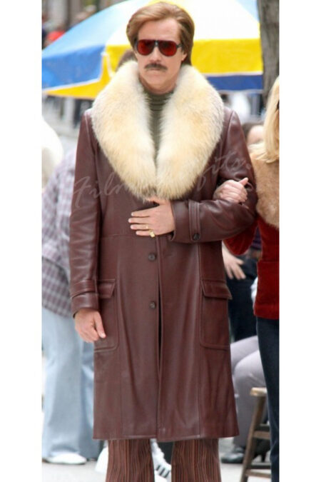 Ron Burgundy Anchorman 2 The Legend Continues Will Ferrell Leather Coat
