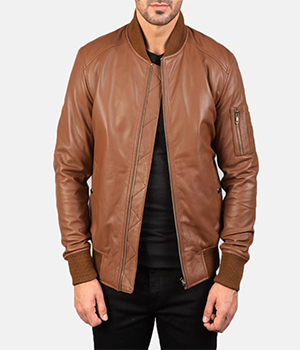 Bomia Ma-1 Brown Leather Bomber Jacket2