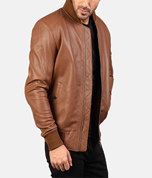 Bomia Ma-1 Brown Leather Bomber Jacket3