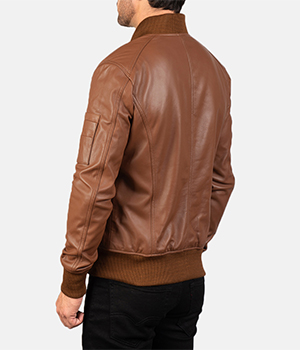 Bomia Ma-1 Brown Leather Bomber Jacket4