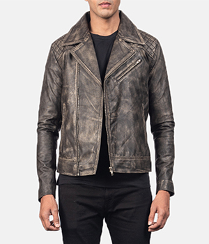 Danny Quilted Brown Leather Biker Jacket1