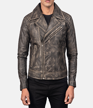 Danny Quilted Brown Leather Biker Jacket2