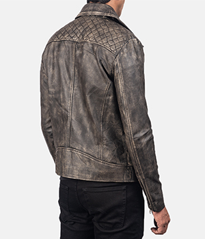Danny Quilted Brown Leather Biker Jacket3