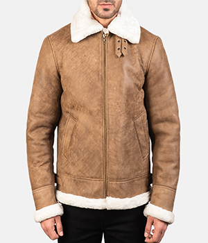 Francis B-3 Distressed Brown Leather Bomber Jacket2