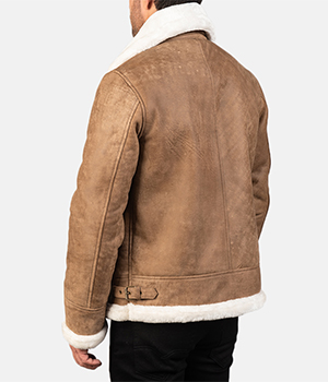 Francis B-3 Distressed Brown Leather Bomber Jacket3