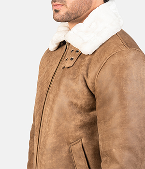 Francis B-3 Distressed Brown Leather Bomber Jacket4
