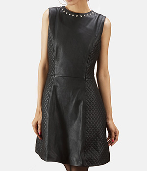 Luxe-Black-Leather-Dress