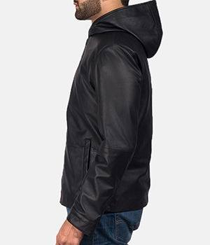 Andy Matte Black Hooded Leather Jacket1
