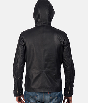 Andy Matte Black Hooded Leather Jacket2