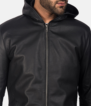Andy Matte Black Hooded Leather Jacket3