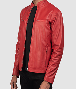 Ionic Red Leather Biker Jacket1