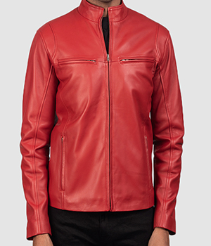 Ionic Red Leather Biker Jacket2
