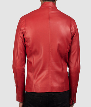 Ionic Red Leather Biker Jacket3