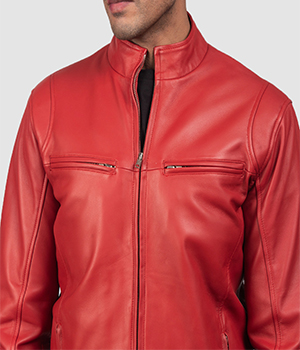 Ionic Red Leather Biker Jacket4