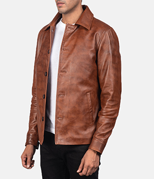 Waffle Brown Leather Jacket1