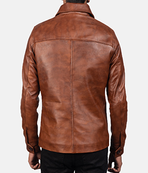 Waffle Brown Leather Jacket2