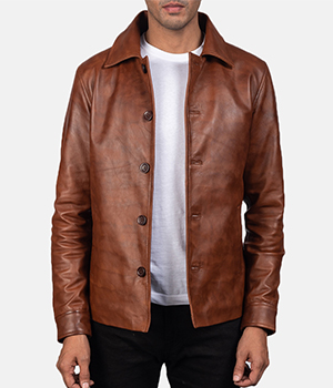 Waffle Brown Leather Jacket3