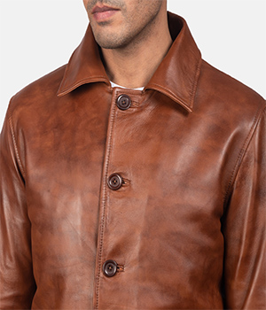 Waffle Brown Leather Jacket4