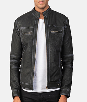 Youngster Distressed Black Leather Jacket1