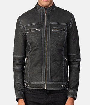 Youngster Distressed Black Leather Jacket2